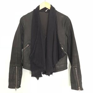 Free People Cascade/Drape Front Denim Moto Jacket